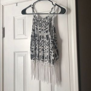 Black and White Crop top with Tassels